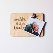 "Доска для фото с зажимом ""World`s best teacher"""