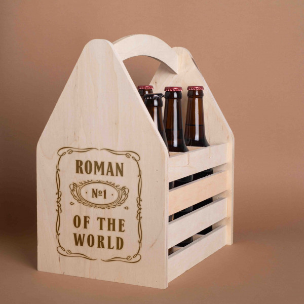"""Ящик для пива """"№1 of the world"""" персонализированный для 6 бутылок, фото 1, цена 549 грн"""