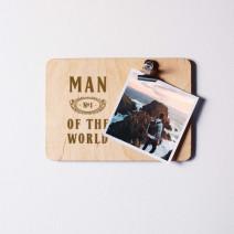"""Доска для фото """"Man №1 of the world"""" с зажимом"""