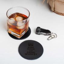"""Костер-подставка кожаная """"Keep calm and drink whiskey"""""""