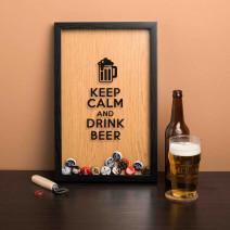 """Рамка-копилка для пивных крышек """"Keep calm and drink beer"""""""