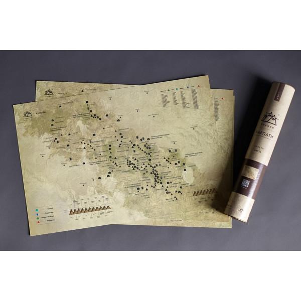 "Карта горных вершин в тубусе ""Карпати"", фото 1, цена 360 грн"